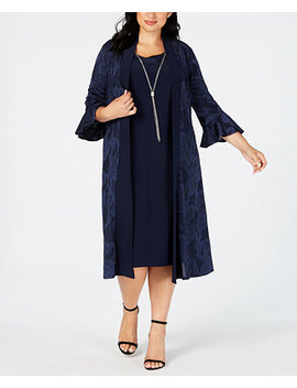 Plus Size Necklace Dress & Printed Bell Sleeve Duster Jacket by R & M Richards