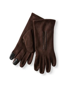 Women's Faux Suede W/Braid Detail Glove by Time And Tru