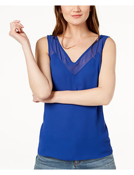 I.N.C. Petite Illusion Trim Tank Top, Created For Macy's by Inc International Concepts