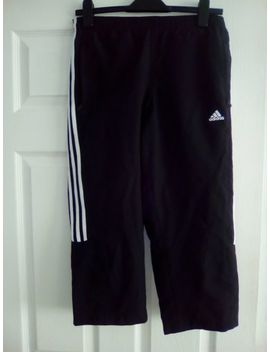Ladies Adidas Black & White Striped 3/4 Length Trousers Size 10 Great Condition by Ebay Seller