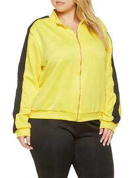 Plus Size Knit Trim Track Jacket Plus Size Color Block Active Pants by Rainbow