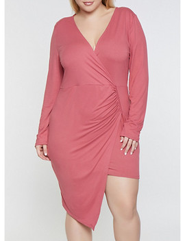 Plus Size Asymmetrical Faux Wrap Dress by Rainbow