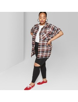 Women's Plus Size Long Sleeve Button Down Oversized Plaid Shirt   Wild Fable™ Cognac by Wild Fable™