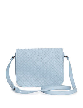 Small Woven Flap Crossbody Bag, Light Blue by Bottega Veneta