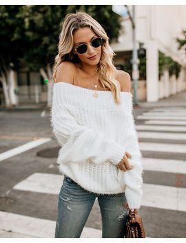 Davina Cozy Off The Shoulder Sweater   Cream by Vici