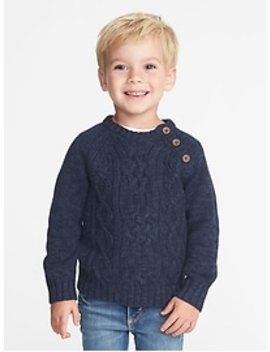 Button Neck Cable Knit Sweater For Toddler Boys by Old Navy
