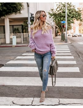 Davina Cozy Off The Shoulder Sweater   Lavender by Vici
