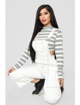 California Love Overall   White by Fashion Nova