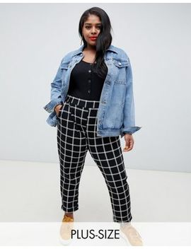New Look Curve Check Trousers In Black Pattern by New Look Curve