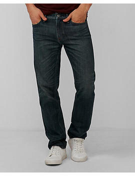 Slim Dark Wash Distressed Pocket 100 Percents Cotton Jeans by Express