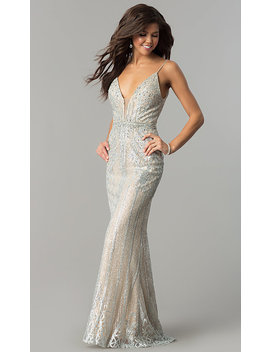 Long V Neck Prom Dress With Glitter And Rhinestones by Promgirl