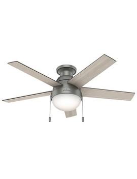 """46"""" Anslee Low Profile Matte Silver Ceiling Fan With Light   Hunter Fan by Hunter Fan"""