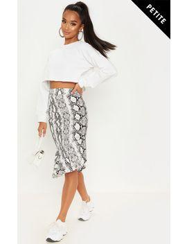 Petite White Snake Print Ruffle Midi Skirt by Prettylittlething