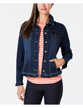 Frayed Trim Jean Jacket, Created For Macy's by Charter Club