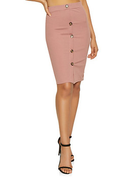 Button Detail Pencil Skirt by Rainbow