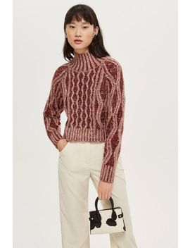 Pleated Tweed Cable Jumper by Topshop