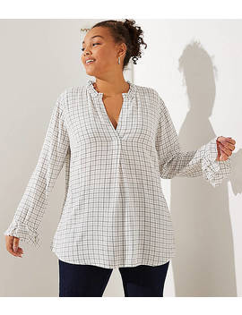 Loft Plus Plaid Ruffle Split Neck Blouse by Loft