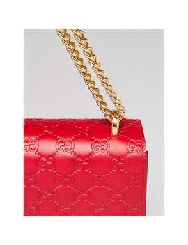 Red Guccissima Signature Leather Flap Shoulder Bag by Gucci