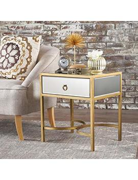 Siryen Modern Mirror Finished Side Table With Gold Iron Accents by Gdf Studio