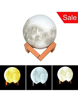 Led Night Light 3 D Printing Moon Lamp Home Decor Baby Nursery Lamp Usb Charging With Wooden Dock, Button Control Brightness Three Tone, Diameter 5.1... by S Nmt