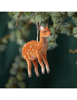 Brushy Snowy Deer Ornament by Terrain