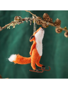 Felt Ice Skating Fox Ornament by Terrain