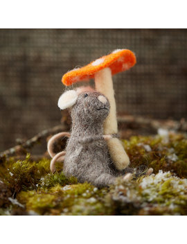 Felt Mouse And Mushroom Ornament by Terrain
