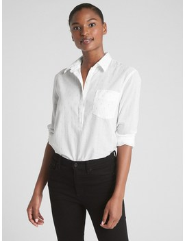 Boyfriend Popover Shirt In Metallic Clip Dot by Gap