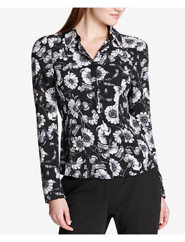 Printed Mixed Media Button Front Shirt by Tommy Hilfiger