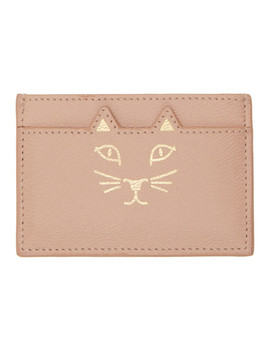 Ssense Exclusive Pink Feline Card Holder by Charlotte Olympia