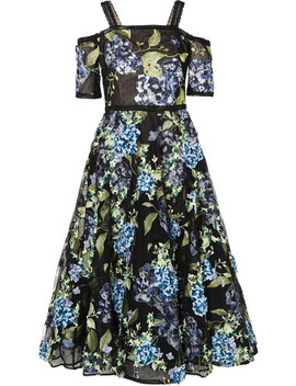Cold Shoulder Embroidered Point D'esprit Dress by Marchesa Notte