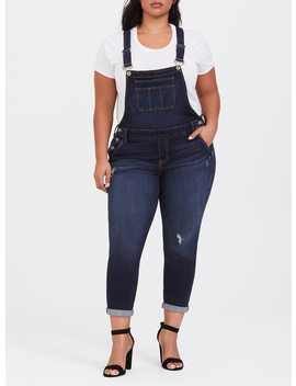 Straight Leg Overall   Distressed Dark Wash by Torrid