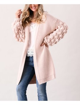 Pink Pom Pom Sleeve Cardigan   Women & Plus by Simply Couture