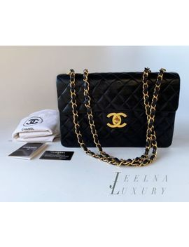 "Auth Chanel Vintage 13"" Xl Maxi Classic Jumbo Bag 24k Gold Plated Hw *Excellent* by Chanel"