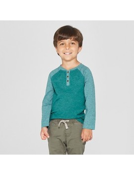 Toddler Boys' Long Sleeve Henley Shirt   Cat & Jack™ Green by Cat & Jack™