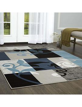 "Home Dynamix Tremont Lane Frizzle Area Rug 7'10""X10'2"", Modern Geometric Navy/Gray by Home Dynamix"