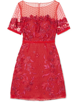 Embroidered Flocked Tulle Mini Dress by Marchesa Notte
