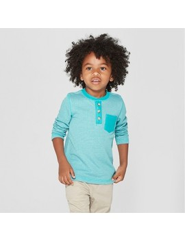 Toddler Boys' Long Sleeve Henley With Pocket   Cat & Jack™ Turquoise by Cat & Jack™