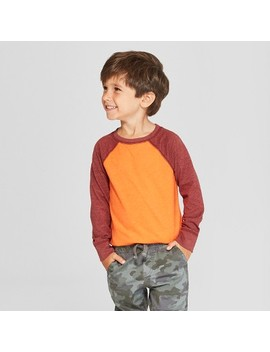 Toddler Boys' Long Sleeve Raglan T Shirt   Cat & Jack™ Orange/Dark Red by Cat & Jack™