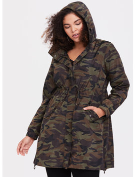 Green Camo Nylon Rain Jacket by Torrid