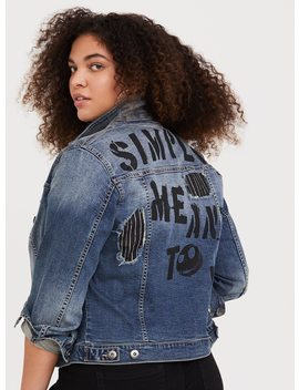 The Nightmare Before Christmas Destructed Denim Jacket by Torrid