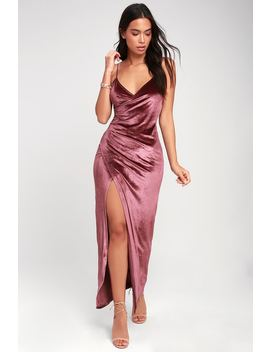 Debut Diva Mauve Velvet Maxi Dress by Lulus