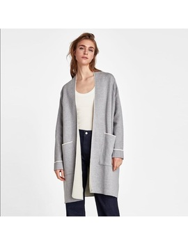 Zara Gray Sweater Coat With Piping Sz L   Nwt by Zara