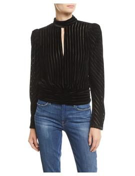Velvet High Neck Striped Long Sleeve Party Top by Frame