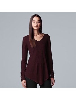 Women's Simply Vera Vera Wang Lace Up Asymmetrical V Neck Sweater by Kohl's