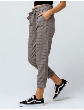 Ivy & Main Plaid Paperbag Waist Womens Trouser Pants by Ivy & Main