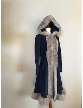 1970s Navy Suede And Faux Fur Coat / Small by Etsy