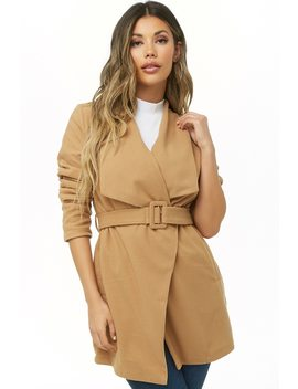 Belted Drape Front Jacket by Forever 21
