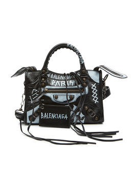 City Small Graffiti Leather Tote by Balenciaga