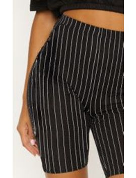 Black Pinstripe Cycle Short by Prettylittlething